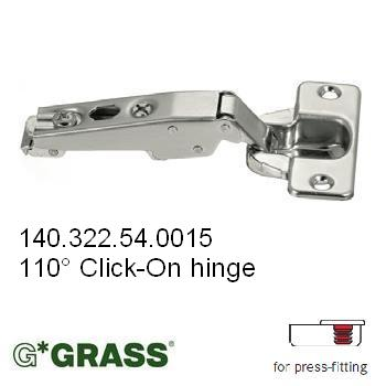 Grass Click-on HINGE 110deg C00 Full-overlay Knock-in Hettich pattern F015072693236