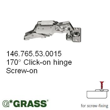 Grass Click-on HINGE 170deg C00 Full-overlay Screw-on Mepla pattern F015072842217