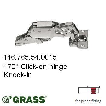 Grass Click-on HINGE 170deg C00 Full-overlay Knock-in Mepla pattern