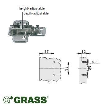Grass 2D HINGE PLATE cross-mount H04 Height & Depth adjustable Screw-on F061073255236