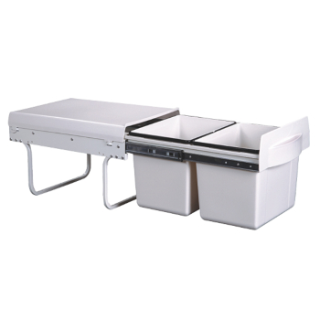 Twin bin - Soft Close - pull-out 2 x 15 ltr with handle 315h x 340w x 510d