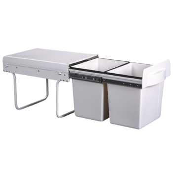 Twin bin - soft close - pull out 2 x 18 ltr 380h x 340w x 510d with handle