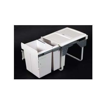 Twin bin JC606 - soft close - pull out 2 x 20 ltr Door mount 430h x 340w x 490d