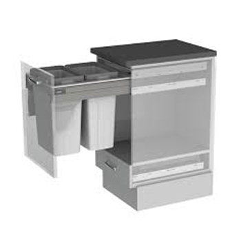 BIN & FRAME SET to suit 450mm cabinet width - 2 x 21 ltr bucket and frame