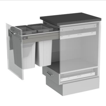 BIN & FRAME SET to suit 450mm cabinet width - 2 x 27 ltr bucket and frame
