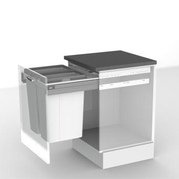 BIN & FRAME SET to suit 600mm cabinet width - no runners 2 x 35 ltr buckets and side by side frame
