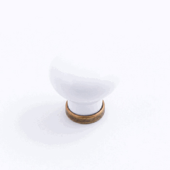 Castella MANOR 37mm Knob White/Antique Brass CAS222
