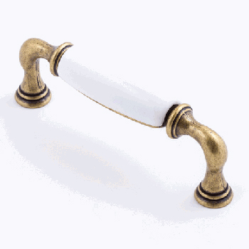 Castella MANOR 96mm Handle White/Antique Brass CAS224