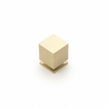 Castella CUBE 25mm Knob Brushed Brass CAS852