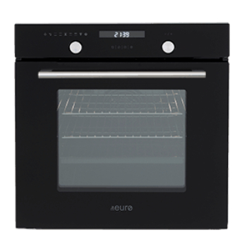 Euro EO60M8SX 60cm Multifunction Built-in Oven - Black Glass