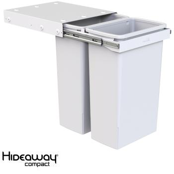 Hideaway Compact bin KC240SCH Handle pull 2 x 40ltr White SOFT CLOSE