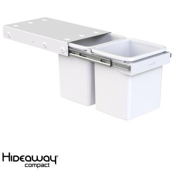 Hideaway Compact bin KC30H Handle pull 2 x 15ltr White