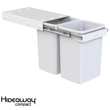 Hideaway Compact bin KC40SCH Handle pull 2 x 20ltr White SOFT CLOSE