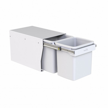 Hideaway Compact bin KCF215SCH Handle pull 2 x 15ltr White FLOOR MOUNT SOFT CLOSE