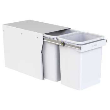 Hideaway Compact bin KCF220SCH Handle Pull 2 x 20ltr White FLOOR MOUNT SOFT CLOSE