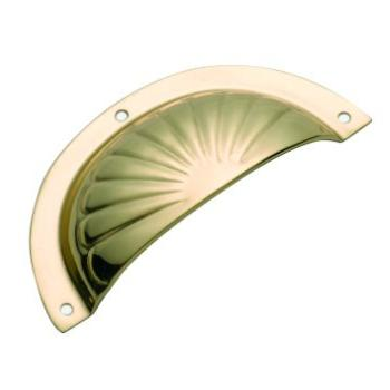 Traditional 3550 PB FLUTED PRESSED DRAWER PULL 97mm x 40mm Polished Brass B012